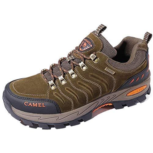 CAMEL CROWN Herren Wanderschuhe rutschfeste Atmungsaktive Trekking-& Wanderhalbschuhe Männer Low Top Outdoorschuhe Traillaufschuhe Bequem Leicht Sports Sneaker Schuhe (41 EU, Khaki)