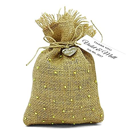 20 Wedding Thank You Burlap Favor Bags Rustic Party Favor Sack Drawstring Pouches With Custom Tag Small Jute Bags 4