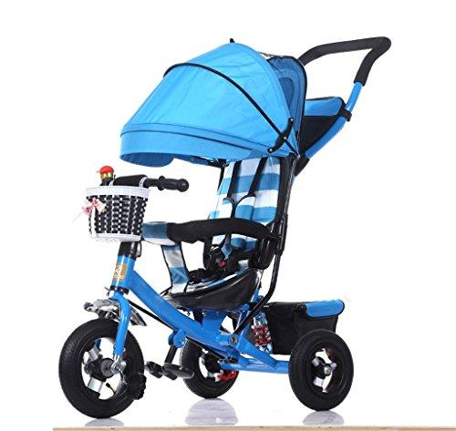 BZEI-BIKE Dreirad Kinderwagen Fahrrad Kind Spielzeug Auto Titan Rad/Schaum Rad Fahrrad 3 Räder, blau faltbar (Boy/Girl, 1-3-5 Jahre alt) Kinderspielzeug (Farbe : A Type)