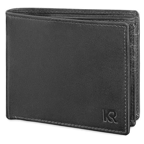 KRONIFY Geldbeutel Männer aus Rindsleder mit RFID Schutz Großes Portemonnaie Geldbörse Herren Leder Schwarz Brieftasche Portmonaise Herren Portmonee ()