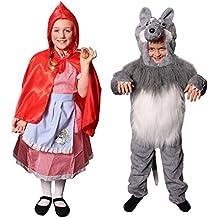 Déguisements pour enfants du petit chaperon et du loup dans les bois. Idéal pour les fêtes de fin d'école.