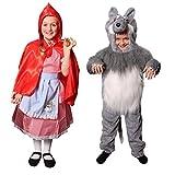 Déguisements pour enfants du petit chaperon ( Small ) et du loup ( Medium ) dans les bois. Idéal pour les fêtes de fin d'école.