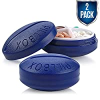 Small Pill Boxes - Pack of 2 - Mini Compact Round Portable 4 Compartment Travel Pills Case Organizer, Vitamin and Medication Dispenser Holder for Up to 4 Times a Day, BPA Free Pill Reminder