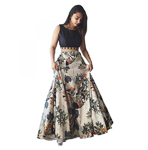 JDS Fashion Woman's Cream Printed & Black Color Full Stitched Lehenga Choli...