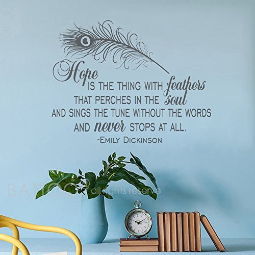 ymot101 Hope is the thing with feathers–Emily Dickinson quotes- mit Applikator, Vinyl, stickerss quotes- Wandsticker, Grau, wx16H Emily Schlafzimmer