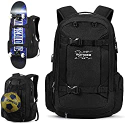 Sac à Dos Sport avec Pliable Basketball Football Net Sac Skate-board Sac à Doc Ordinateur Portable avec Pris USB Sac de Voyage Scolaire 17.3 pouces 40L Noir