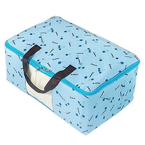sourcing map Kirsch Druck Falzen Reißverschluss Kleidung Quilt Aufbewahrungstasche Halter Container Blau de -