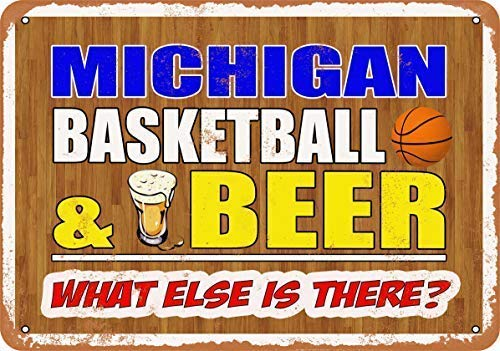 New Tin Sign Michigan Basketball and Beer Wall Plaque Vintage Look Novelty Metal Sign Aluminum 8x12 INCH - Michigan Wall Plaque
