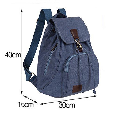 Fashion casual vintage zaino, QianSheng portatile borsa a tracolla zaini borse studente Schoolbag Satchel scuola libro borsa coulisse zaino, con tracolla regolabile, donna, Coffee Navy Blue