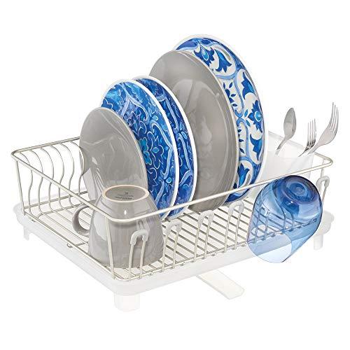 mDesign Escurridor de platos con bandeja de goteo – Bandeja escurreplatos para la encimera o el fregadero de la cocina – Secaplatos con desagüe giratorio de metal y plástico – plateado mate