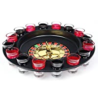 Evelots Drinking Game Glass Roulette W/ 2 Balls & 16 Shot Glasses, Casino Style by oob de SO