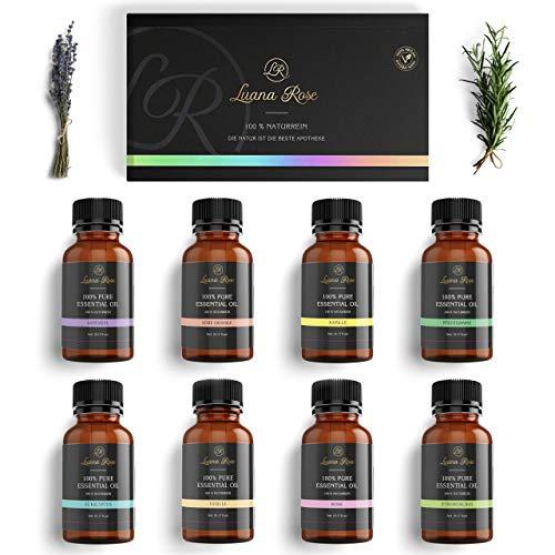 Luana Rose Ätherische Öle Set - 100% Vegan & Naturrein - 8x Aroma Diffuser Öl für Aromatherapie - Reine Duftöle Geschenk Set für Luftbefeuchter - Vanille - Rose - Lavendel - Eucalyptus und mehr