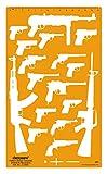 Linograph Pistolen & Revolver Symbole Muster Orange Schablone Vorlage Zeichnung