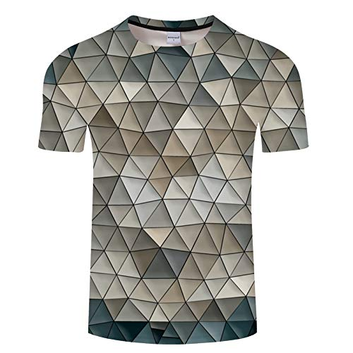 Farbige unregelmäßige geometrische Steppnähte Kurzarm-T-Shirt für Herren mit Katzenmuster TXKH1032 L (Jungen Farbige Jeans Größe 12)