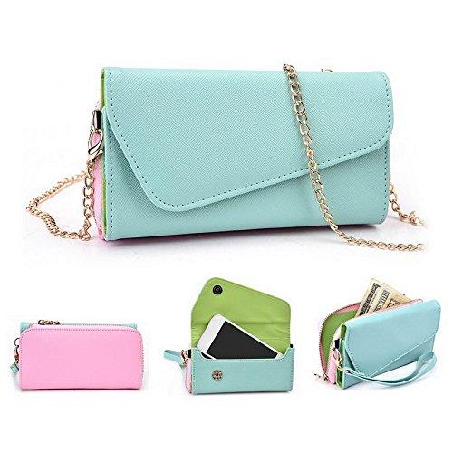 Kroo d'embrayage portefeuille avec dragonne et sangle bandoulière pour ZTE Zinger Smartphone Multicolore - Green and Pink Multicolore - Green and Pink