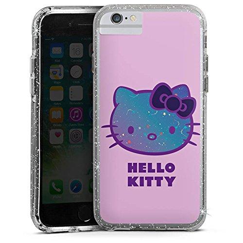 Apple iPhone 6 Plus Bumper Hülle Bumper Case Glitzer Hülle Hello Kitty Merchandise Fanartikel Merchandising Pour Supporters Bumper Case Glitzer silber