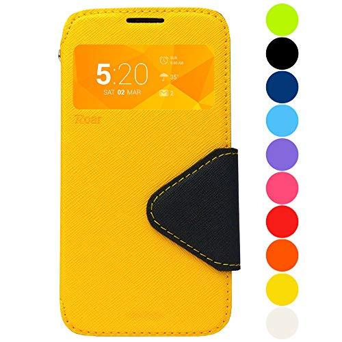 Roar Galaxy S4 Mini Flip Tasche, S-View Handytasche, Flipcase Schutzhülle, Premium Handy Etui im Bookstyle mit Sichtfenster, Standfunktion für Samsung Galaxy S4 Mini (i9190 i9195), Gelb