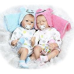 HOOMAI 55CM Poupee Reborn bébé Fille garçon realiste Jumeaux Silicone Baby Doll Pas Cher Jouets