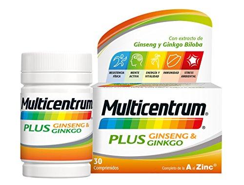 516 iIIjG0L - Multicentrum Plus complemento alimenticio con 13 Vitaminas, 8 Minerales, Ginseng y Ginkgo Biloba, Con Vitamina B1, Vitamina B6, Vitamina B12, Hierro, Vitamina C, Vitamina D, 30 Comprimidos