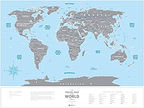 Deluxe Scratch Places Off Poster - Large Places I've Been World Travel Map - Great World Map Gift For Any Traveller - Made From Flexible Plastic to Last Longer - Gift by 1DEA.me
