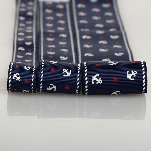 Neotrims Ripsband, nautisches Anker-Design, erhältlich in den Breiten 16 mm, 25 mm, 38 mm Ripsband mit Sternen und Ankern aus weichem Polyester; erhältlich in den Breiten 16 mm, 25 mm, 38 mm; erhältlich als 3er-Set (3 Bänder á 3m) oder einzeln (1 Band á 3m) Einzigartiges Design Kann zurechtgeschnitten und verziert werden, navy, 3 meters of 38mm -