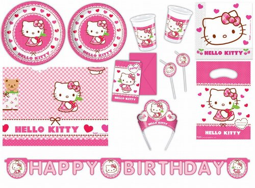 Procos 412275 Kinderpartyset Hello Kitty Hearts, Größe XXL (Kitty Hello Geburtstag)
