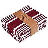 Urban Villa Kökshanddukar, premiumkvalitet, solid satin väv ultramjuka 100 % bomullshanddukar Kitchen Towels (Set of 6) Burgandy/White