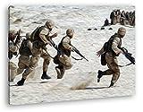 Soldaten im Krieg Effekt: Zeichnung im Format: 120x80 als Leinwandbild, Motiv fertig gerahmt auf Echtholzrahmen, Hochwertiger Digitaldruck mit Rahmen, Kein Poster oder Plakat
