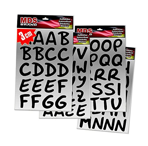 MDS Brand Schreibschrift Buchstaben 3cm Aufkleber für Fotobuch beschriften (3cm Schwarz)