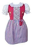 Kinderdirndl mit Beutelchen 3 Teilig 127472 Farbe Royalblau 100% Baumwolle Dirndl mit Unterrock