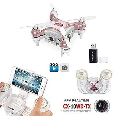 Cheerson CX-10WD CX-10WD MINI WIFI FPV 0.3MP Camera Altitude Hold 2.4G 4CH 6Aixs RC Quadcopter RTF with a Makibes Reader Card