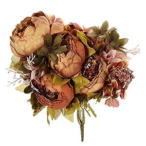 niceeshop(TM) Ramos de Flores de las Peonías de Artificiales de Seda de Estilo Europeo para la Decoración de Boda Hogar, Púrpura