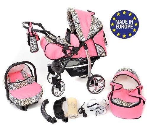 3-in-1 Travel System incl. Baby Pram with Swivel Wheels, Car Seat, Pushchair & Accessories, Pink & Leopard 516 mk0Im6L