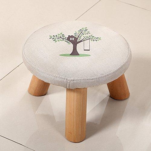 Stool Dana Carrie En d'autres selles banc de chaussures sur une table basse tabouret bas en bois massif et tissus adultes enfants créatifs élégante petite chaise canapé tabouret rond, Petit arbre
