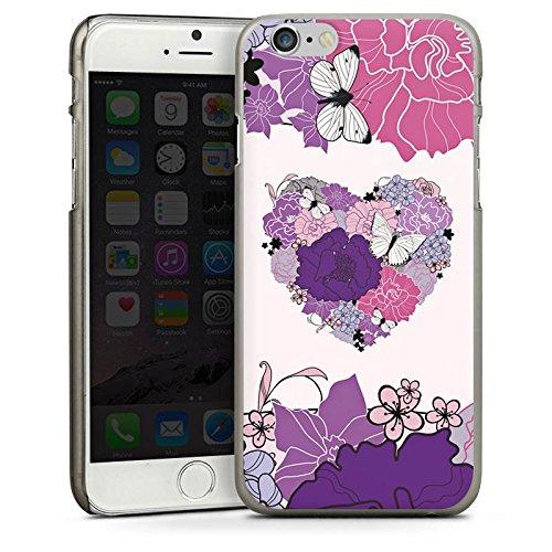 Apple iPhone 4 Housse Étui Silicone Coque Protection C½ur Papillon Fleurs love CasDur anthracite clair
