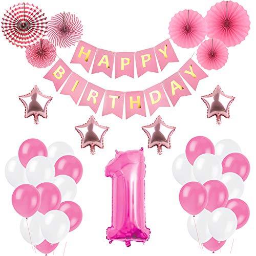 Weimi 1. Geburtstag Dekorationen Papier Fans Dekoration für Geburtstagsfeier (Rosa)