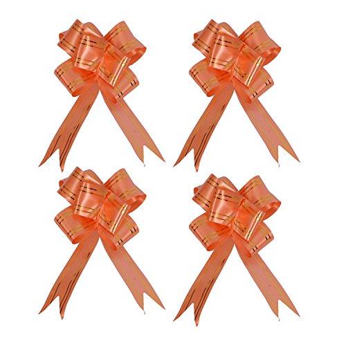 kraftz® 18mm Schmetterling Pull Bögen mit Gold Line/bunt und wunderschöne Pull String Schleife für Hochzeit Geburtstag Weihnachten Party Dekoration 10Stück Orange