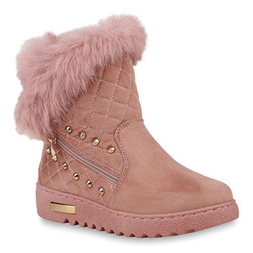 Winterboots Damen Schuhe Stiefeletten Fell Leder-Optik Warm Gefüttert 153331 Rosa Velours 37 Flandell