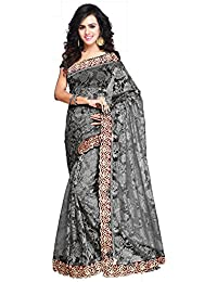 Aruna Sarees Net Embroidery Work Designer Saree With Blouse Piece