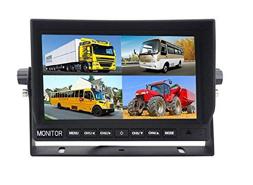 YMPA 23 cm 9 Zoll inch TFT LCD Video Digital Monitor Split Mehrfach Multiplex 4 Kanal für Auto und PKW KFZ Rückfahrkamera Rückfahrsystem 12V mit 4 Videoeingängen Schwarz LCM-ST9Quad4PIN