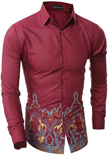 Jeansian Hommes Mode Chemises Casual epissure Manches Longues Men's Fashion Leisure Splicing Long Sleeves Slim Shirts Tops 84N0 WineRed