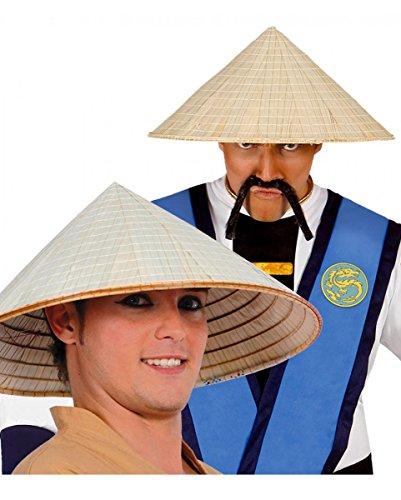 sen Non la Hut aus Stroh für die Asia Mottoparty & Fasching (Asiatisch Bart Kostüm)