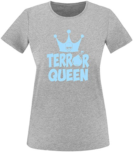 EZYshirt® Terror Queen Damen Rundhals T-Shirt Grau/Hellblau