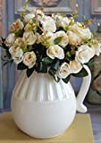 MingXiao Rose Blumenstrauß Künstliche Hochzeit Europäischen Bündel Künstliche Rosenblatt Blumen Bouquet Party Garden Cream