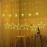 AMEU Lichtervorhang Sterne, Lichterkette Sterne mit LED Kugel 12 Sterne,3m Wasserdicht Strangleitungen Innen & Außenlichterkette für weihnachtsdeko, Hochzeit, Party, Fenster, Garten Warmweiß