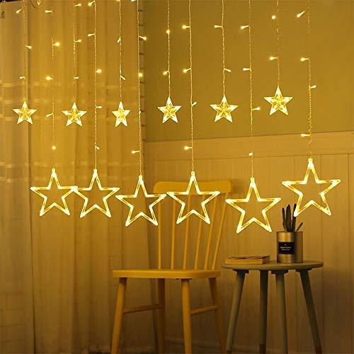 Tenda stelle led, luci stella, tenda luci led con 3m stringa luci led, 12 stelle, 138 luci per natale, balcone, giardino, matrimonio (bianco caldo)