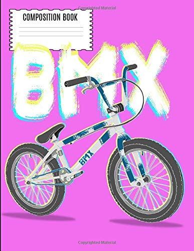 BMX Composition Book: Vintage 80s 90s BMX RACING Dirt Bike Wide Ruled Composition Book -