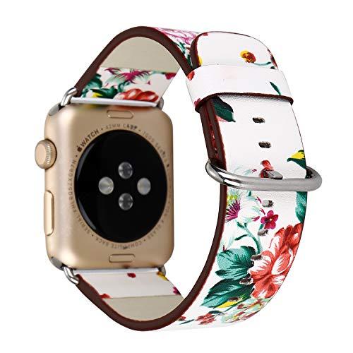 tch Strap Apple Watch Strap Gemalte Blumen Idyllisches Armband Für Iwatch 1 2 3 Generation Lederband,Whitered,42Mm ()