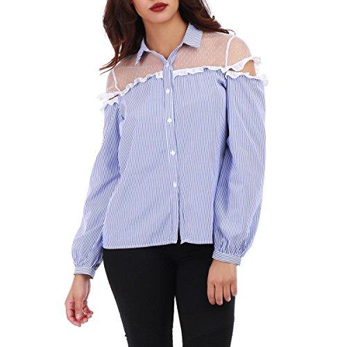La Modeuse - Chemise à rayures femme Bleu