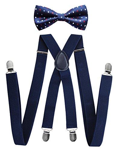 Tirantes para hombre con pajarita de Axy;4clips resistentes en forma de X multicolor Schwarzblaue (Hosenträger Breit 2,5cm)+Fliege Bunt Nr.16